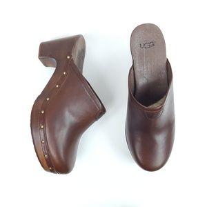 UGG|Dark Brown Heeled Slip On Clogs Size 9